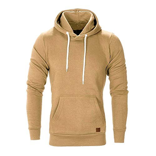 FRAUIT Männer Sweatshirt Langarm Herbst Winter Herren Kapuzenpullover | Sale | Casual Sweatshirt Hoodies Top Bluse Trainingsanzüge (XXXXXL, Khaki)
