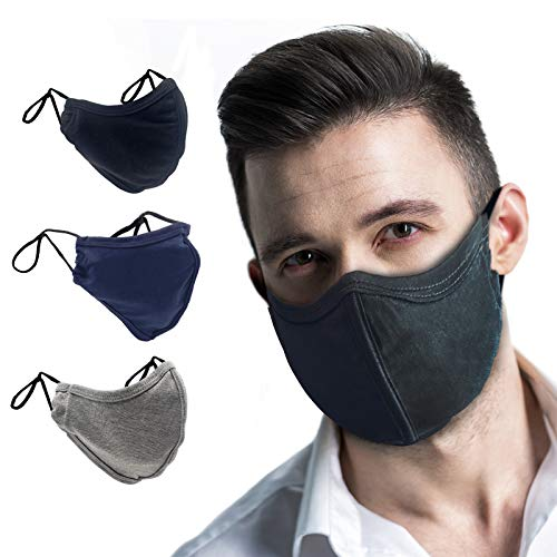 TUFF Face Mask Adult Large Size 3 Pack- C Shaped Design Making Breathing Easier and Comfortable on Skin - USA Made (Large Size Mix Color 3 Pack)