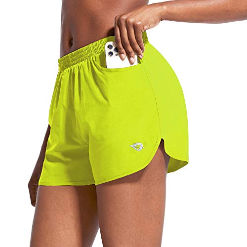 BALEAF Women s 3  Running Athletic Shorts Quick Dry Gym Workout Shorts with Pockets Bright Chartreuse Size M
