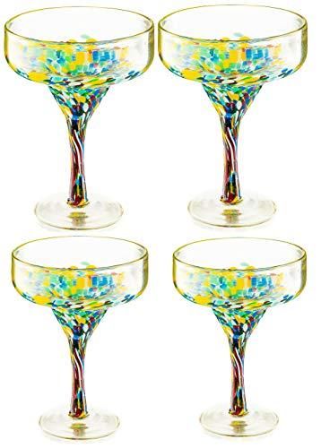Mexican Design Hand Blown Margarita Glass – Set of 4 Luxury Hand Blown Confetti Margarita Glasses...