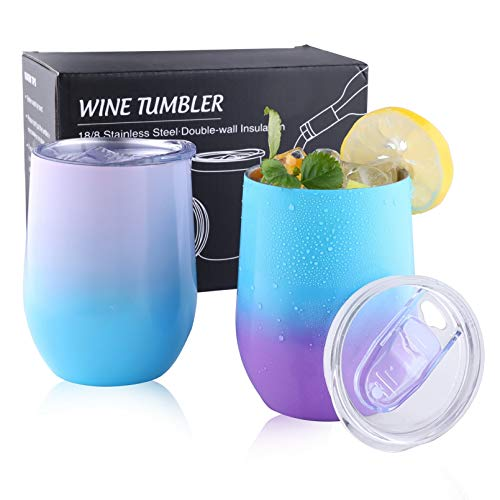 Insulated Wine Tumbler with Lid, 12oz Stainless Steel Stemless Wine Glass Tumbler Cup, Double Wall Vacuum Insulated Tumbler, Insulated Coffee Mug, Coffee Travel Mug for Women, Men, Couples(2 Pack)