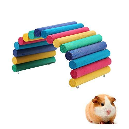 YGHH Djurbro, mus gnagarleksak, stege bro, böjbar mini trä husdjur bågbro för hamster, råtta, litet marsvin, andra liknande storlekar husdjur som gömmer sig leka (färgglad)
