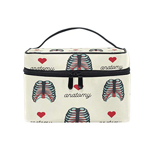 Travel Cosmetic Bag Anatomy Heart Skeleton Toiletry Makeup Bag Pouch Tote Case Organizer Storage Tools Jewelry for Women Girls