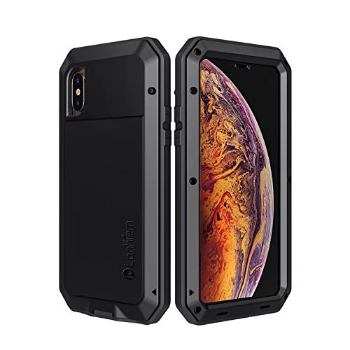 Lanhiem Cover iPhone X,Cover Antiurto iPhone XS[Indistruttibile e Resistente][Supporta la Ricarica Wireless] Full Body con Protezione dello Schermo Rugged Militare Custodia per iPhone X/XS-Nero