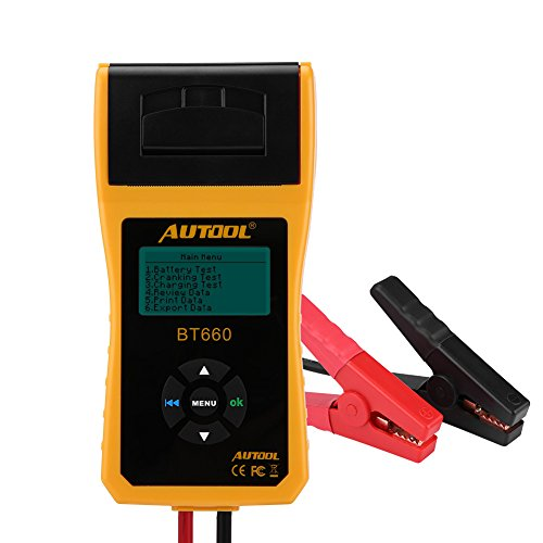 Suuonee Batterietester, 12V Digital Automotive Auto Batterieladungstester Analyzer Test mit Drucker Multi-Sprache