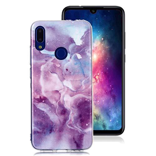 Yunbaozi Funda Mármol Xiaomi Redmi Note 7, Carcasa Suave Silicona TPU Patrón Granito Piedra Anti-Rasguños for Xiaomi Redmi Note 7 Marble Case Nebulosa Púrpura