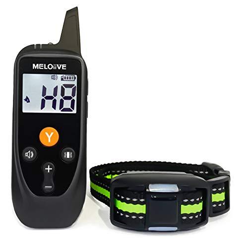 Meloive Collar Recargable Adiestrar Perros, Collar Resistente al Agua IPX67 con Bloqueo de Seguridad del Teclado, Alcance Remoto de 900m con Modos de Vibración, Sonido y Luz.