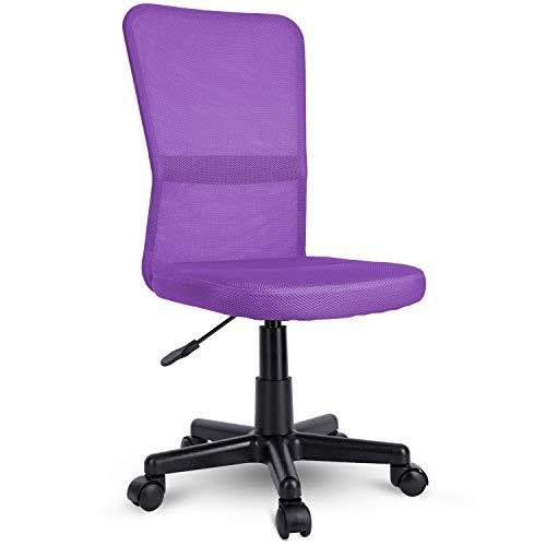 TRESKO Sedia da Ufficio Sedia da scrivania Girevole, in 6 Colori Diversi, Regolabile in Altezza, Sedile Imbottito, Sedia ergonomica, pistone Approvato SGS (Porpora)