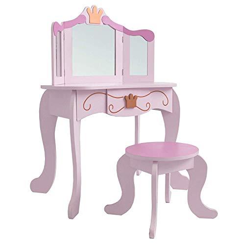 habeig Kinderschminktisch Kindertisch Prinzessin Kinder Mädchen Schminktisch für Kinder Frisiertisch (#333)