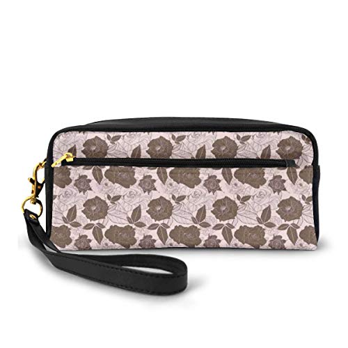 Pencil Case Pen Bag Pouch Stationary,Floral Spring Pattern with Contrast Rose Petals Overlapping Each Other,Small Makeup Bag Coin Purse