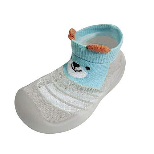 Cartoon-Schuhe für Kinder, Baby, Jungen, Mädchen, Kleinkind, niedlich, gestrickt, atmungsaktiv, rutschfest (Rosa/Grün/Grau)