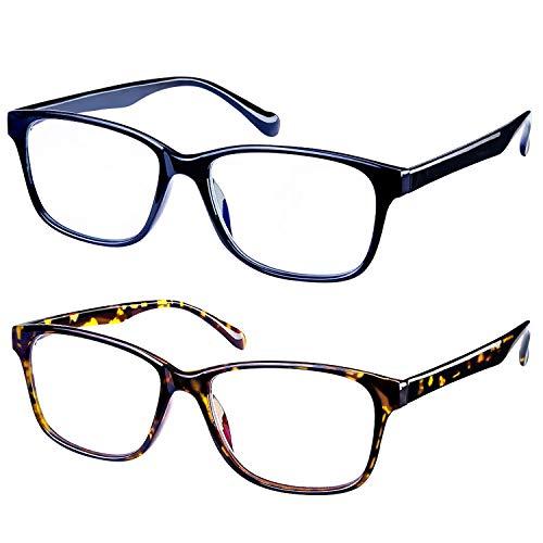 IFHTech Blue Light Blocking Glasses 2 Pack UV Protection Unisex(Men/Women)