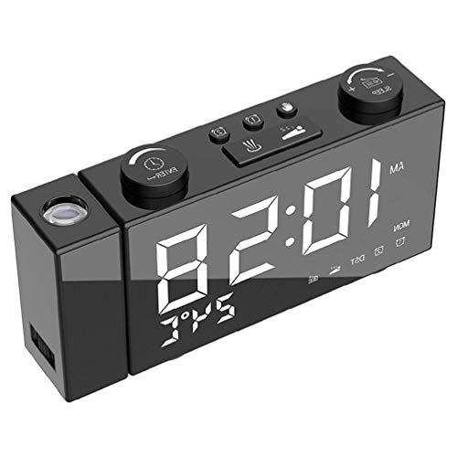 Reloj despertador de proyección de radio FM digital LED, temporizador de repetición de temperatura con cable de carga USB para decoración del hogar