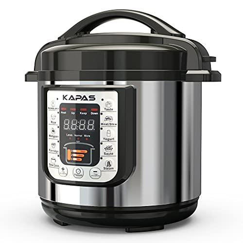 KAPAS Smart Electric Pressure Cooker, 6.4 Qt 10-in-1 Multi-Use Cooker with Cooking Accessory for Rice, Multigrain, Porridge, Meat/Stew, Yogurt, Cake and Warm, Steam, Saute, Slow Cook