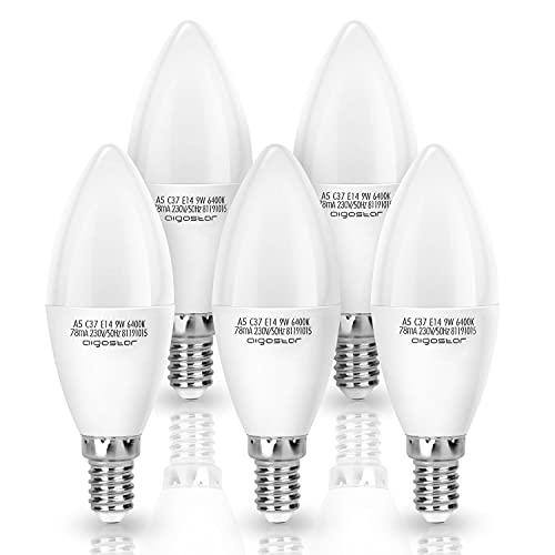 Aigostar - Bombilla LED E14 Vela 9w, equivalente a 55W, no regulable, Luz Blanca Fría 6400K, 720lm, Pack de 5 [Clase de eficiencia energética A+]