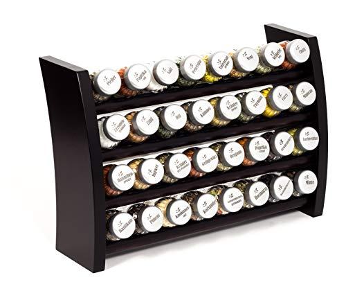 Gewürzregal, Küchenregal aus Holz für Gewürze und Kräuter, 32 Gläser, Gald - 32F 8x4 venge matt