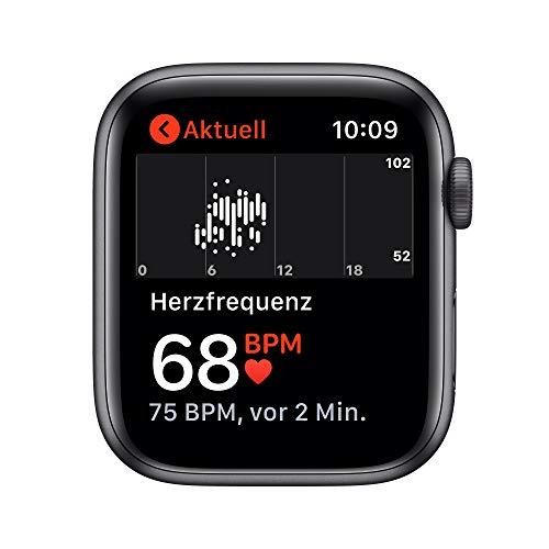 AppleWatch SE (GPS, 44mm) Aluminiumgehäuse Space Grau, Sportarmband Schwarz