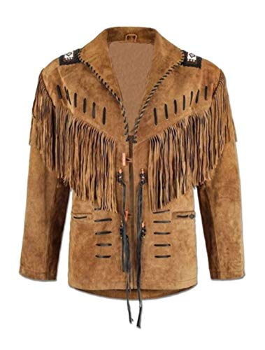 Men's Suede Leather Jacket Western Suede Leather Jacket with Fringe and Tassels Black