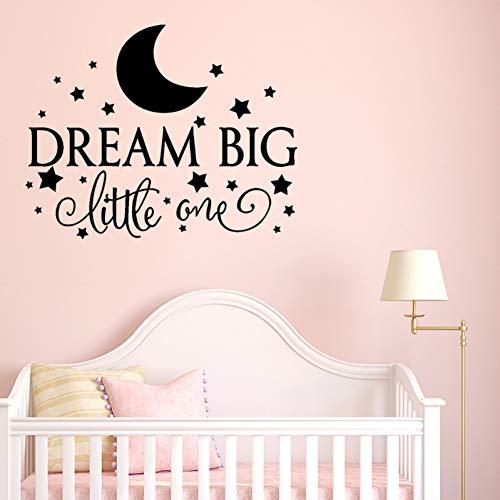MWLSW Sticker Mural Dream Big Little One Stickers muraux pour Enfants Chambre de bébé décoration de la Maison arrière-Plan Art Mural de la Lune étoiles Autocollants