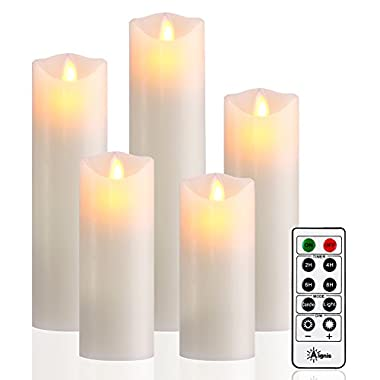 Flameless Candles, Battery Candles Set of 5 (H5 6 7 8 9 xD2.2) Led Candles with Remote Timer by Aignis(Ivory)