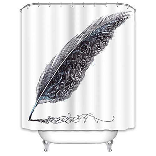 X-Labor Frisch Duschvorhang 240x200cm Wasserdicht Stoff Anti-Schimmel inkl. 12 Duschvorhangringe Waschbar Badewannevorhang 240x200cm Feder