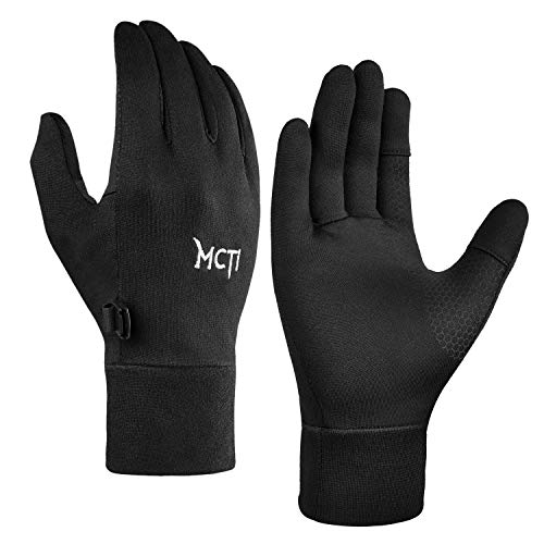 MCTi Glove Liner Touch Screen Lightweight for Winter Running Texting Black Large