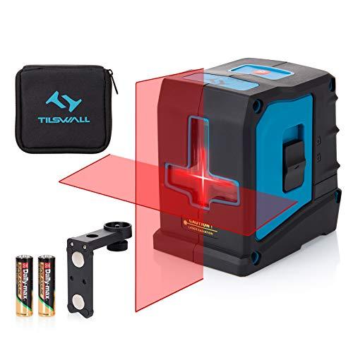 Kreuzlinienlaser Tilswall 20M Laser selbstnivellierend Linienlaser, Dual-Lasermodul mit 360° Drehbar Magnetische, IP54 Staub und Wasserschutz inkl. Schutztasche und 2 x AA Batterien