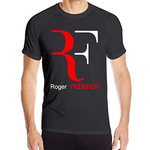 Ademend mountainbike-logo van Roger veer ronde hals Quick-Dry T-shirts -zwart, diep heather