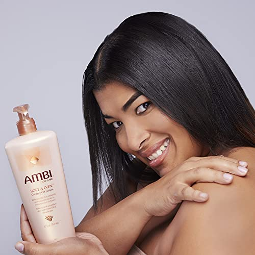 Ambi Skincare Soft & Even Creamy Oil Lotion with Olive Oil and Shea Butter   Dry Skin Instant Itch Relief   Fast-Absorbing Body and Face Moisturizer   No Greasy After Feel   12 Oz