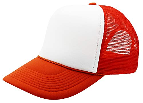 QML Trucker Cap Mesh Hat with Solid, Two Tone Colors and Adjustable Snapback Strap and Small Braid (2 Tone, White/Orange)
