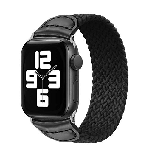 YGGFA Trenzada Banda For IWatch 44mm 40mm Watch Band For El IWatch 38mm 42mm For I Seguir Serie 6 SE 5 4 3 2 (Band Color : Black, Size : For 38mm 40mm)