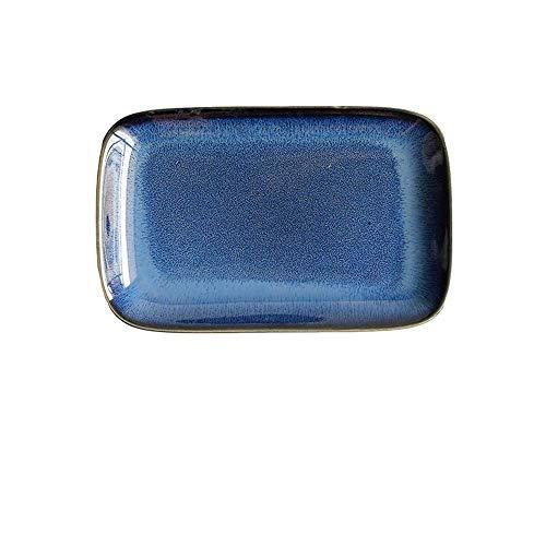 XUSHEN-HU cerámica Placa Rectangular Occidental Pequeño Placa Placa fría Snack-Placa de la Torta de la Placa Restaurante Hotel Vajilla Personalidad Horno Oscuro Azul Indigo 7,25 Empresa Clásico