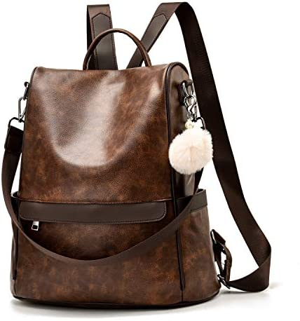 Women Backpack Purse PU Leather Anti theft Casual Shoulder Bag Fashion Ladies Satchel Bags Brown product image