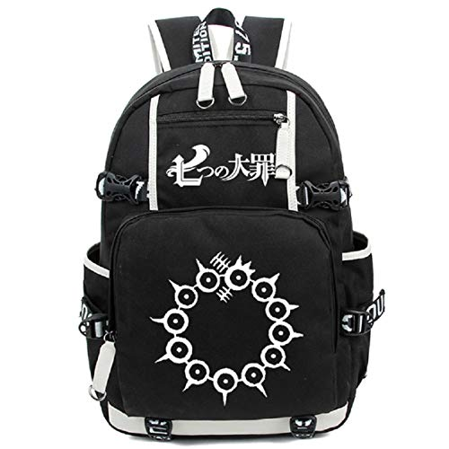 Mochila para portátil Siawasey, bolsa de hombro, mochila escolar, anime japonés, cosplay negro The Seven Deadly Sins 2