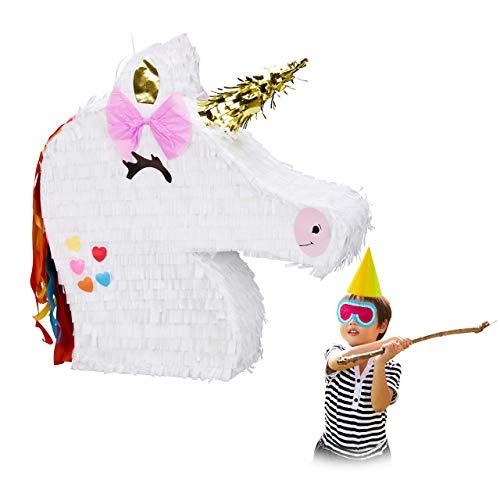 Relaxdays Piñata Unicornio sin Relleno, Decoración para Cumpleaños Infantil, Papel, 41,5 x 39,5 x 9 cm, Blanco (10028079)