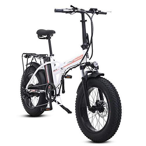 MEICHEN Elektro-Bike 4.0 Fett Reifen elektrische bikeebike Beach Cruiser Fahrrad Booster Faltrad elektrisches Fahrrad elektrisches Fahrrad 48V,20incheswhite