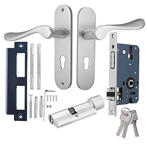 Split Typ Aluminium Türschloss, Sicherheit Holztürschloss für das Schlafzimmer, Wohnzimmer Ultra leise Türschloss (Silber)
