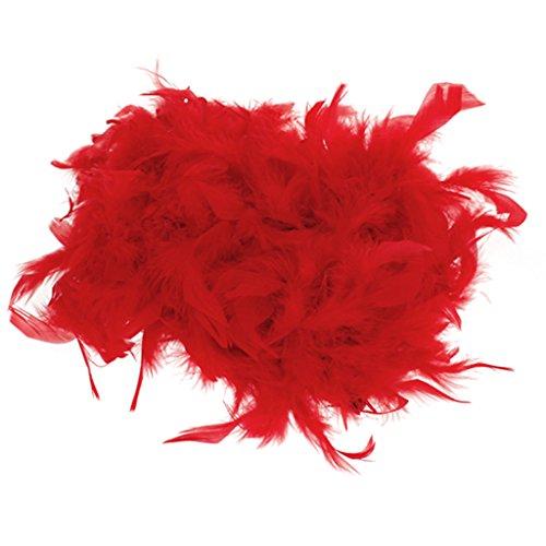 Generic Boa di Piume Soffici Mestiere Costume Feste Decorativo 6,6ft Lungo - Rosso