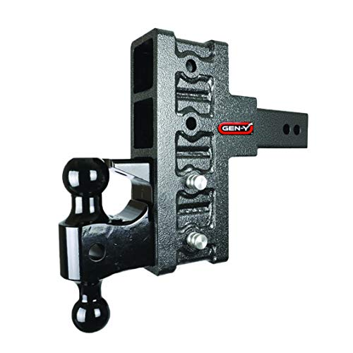 GEN-Y Drop Hitch GH-924 2 1 2  Class V by GENY Offset Shank 4-Slot, Dual-Ball Mount Pintle Combo, Dual Receiver Drop Hitch, Four Adjustable Positions Heavy Duty