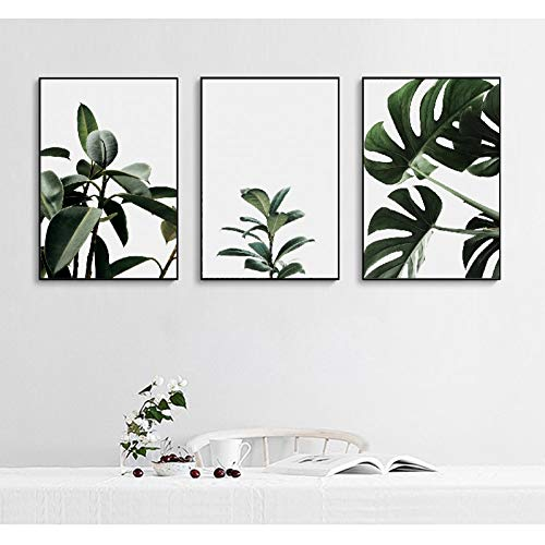 LINGBU Stampa su Tela Trittico,Set di 3 Foglie Tropicali Wall Art Foglie Verdi fresche su Tela Pittura Poster Stampe Decorazione di Arte Moderna (Senza Cornice)