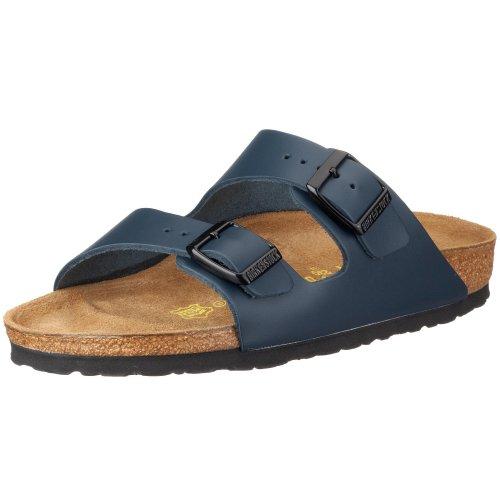 Birkenstock Unisex-Erwachsene Arizona Leder Pantoletten, Blau, 40 EU Schmal
