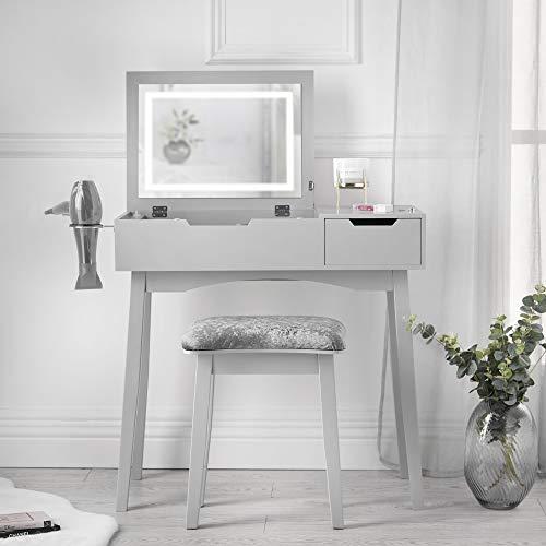 Carme Selena - Tavolino da toeletta con luce LED, specchio laterale, cassetto e sgabello, per camera da letto, per trucchi, gioielli