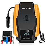 Watifisa Tire Inflator Portable Air Compressor with Digital Pressure Gauge, DC 12V Auto Shut Off Electric Air Pump with Emergency LED Light, 150PSI Tire Pump for Cars, Bikes & Other Inflatables
