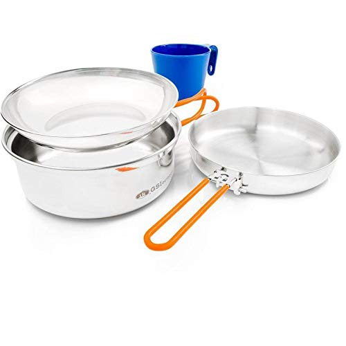 GSI Outdoors Stainless 1 Person Mess Kit for Camping and Backpacking