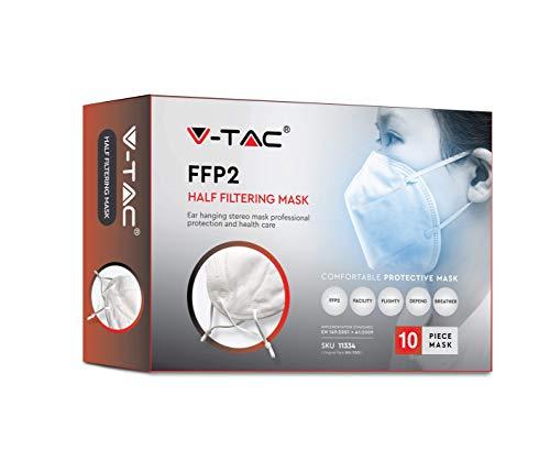 V-TAC Mascarilla facial protectora desechable para respirador FFP2 / KN95, 94{1f03e124dc1a40b08a4248948b6fa53412738067530855865192dc0164ae067e} de filtración (Paquete de 10 piezas)