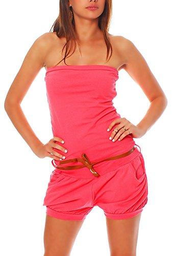 Malito Damen Einteiler kurz in Unifarben | Overall mit Gürtel | schicker Jumpsuit | Romper - Playsuit - Hosenanzug 8964 (pink)