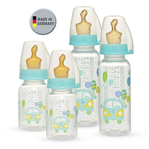 NIP PP Flaschen Set 2 x 125 ml & 2 x 250 ml BPA free // kiefergerechter Sauger NaturLatex mit Anti-Kolik Ventil // Größe S & M (Tee & Milch/ab Geburt) // inkl. Dichtscheiben
