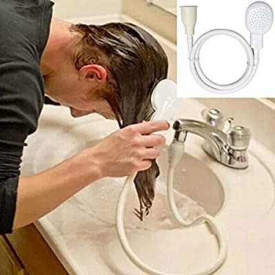 Lipoipo Portable Sink Hose Faucet Sprayer Sprayer Handheld Hose Faucet Shower Head Spray for Bathing Baby, Pets, Washing Hair (White)