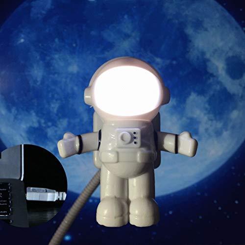 XHSHLID LED-nachtlampje, verstelbaar, astronaut, licht voor computer, tafellamp, zuiver wit