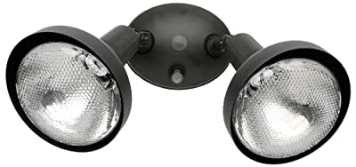 Woods L1641BR Designers Edge Modern Double Flood Light with Bulb Shield, Housing, 2, 300 W Fixture, 150 W Lamp, Bronze